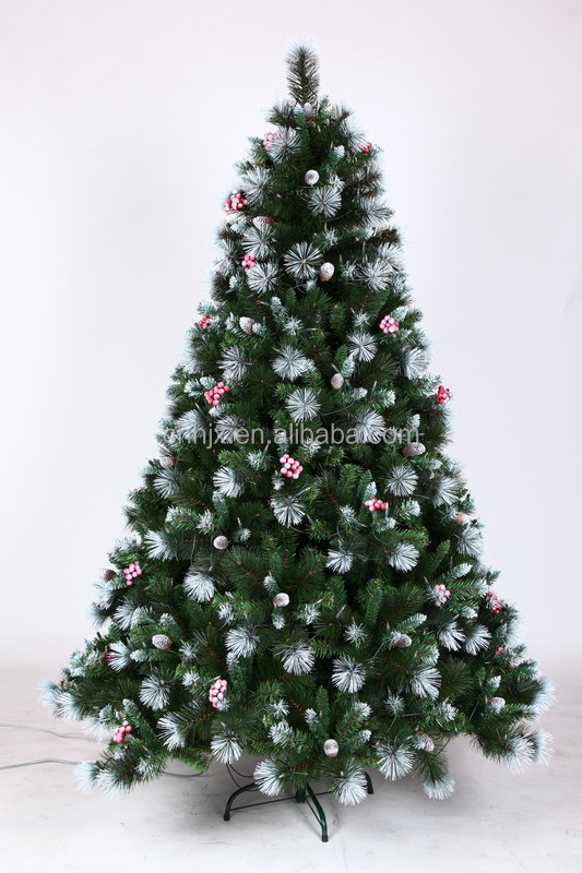 Frosted pine cone and red berries snowing christmas tree for Where can i buy a red christmas tree