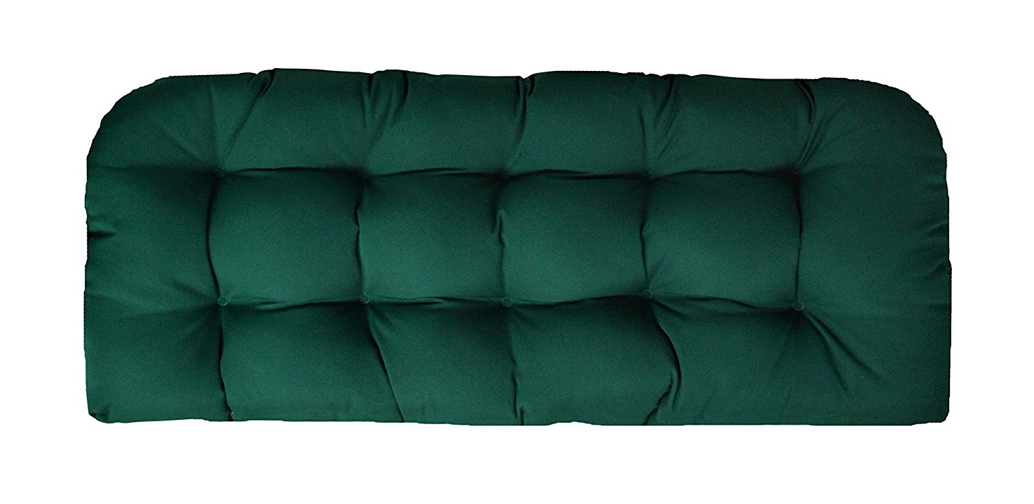 Sunbrella Canvas Forest Green Love Seat Cushion - Indoor / Outdoor 1 Tufted Wicker Loveseat Settee Cushion - Green