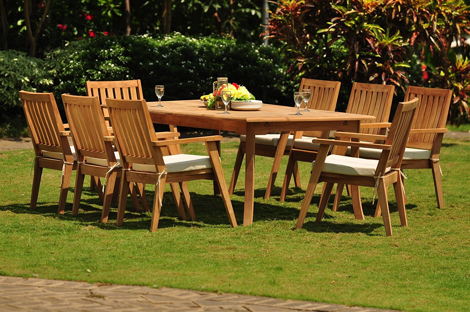 """TeakStation 8 Seater Grade-A Teak Wood 9 Pc Dining Set: 117"""" Double Extensions Rectangle Dining Table and 8 Palmer Stacking Arm / Captain Chairs #TSDSPMv"""