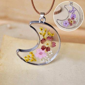 Gedruckt Echte Blume Schmuck Trockenen Blume Halskette Harz Glas