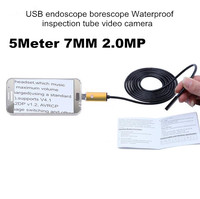 5M 7mm USB Endoscope Borescope 2.Megapixel 720P Tube Snake Video Camera