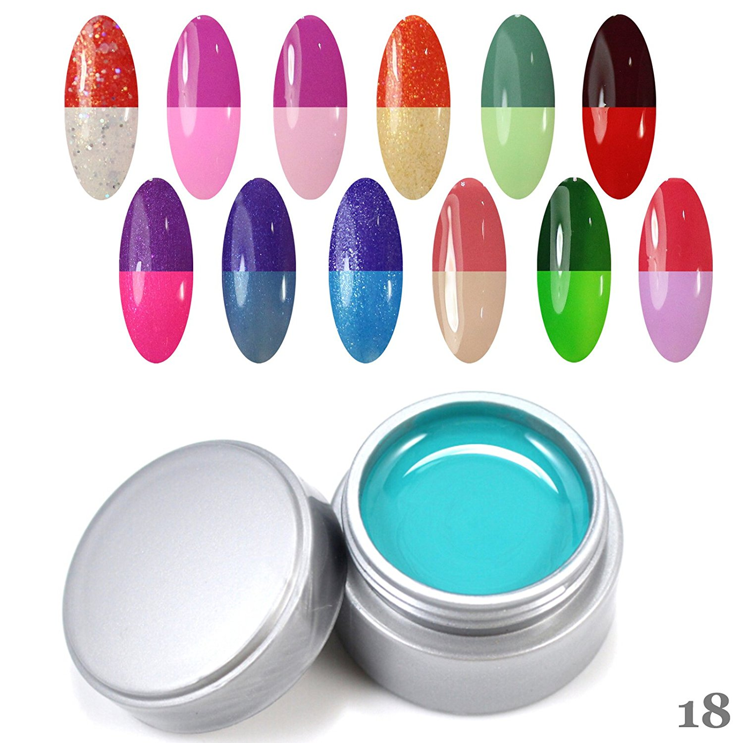 Perfect Summer Fast Quick Drying 12pcs 6ml UV Gel Nails Polish Temperature Changing Colors Chameleon Salon Artistic Painting Nails Lacquers Varnish Sets Kits Soak Off for Women #18