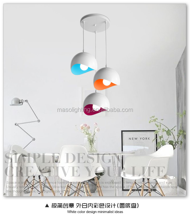 Modern dome light Metal colorful pendant lamp Nordic hanging lamp for dining room decor