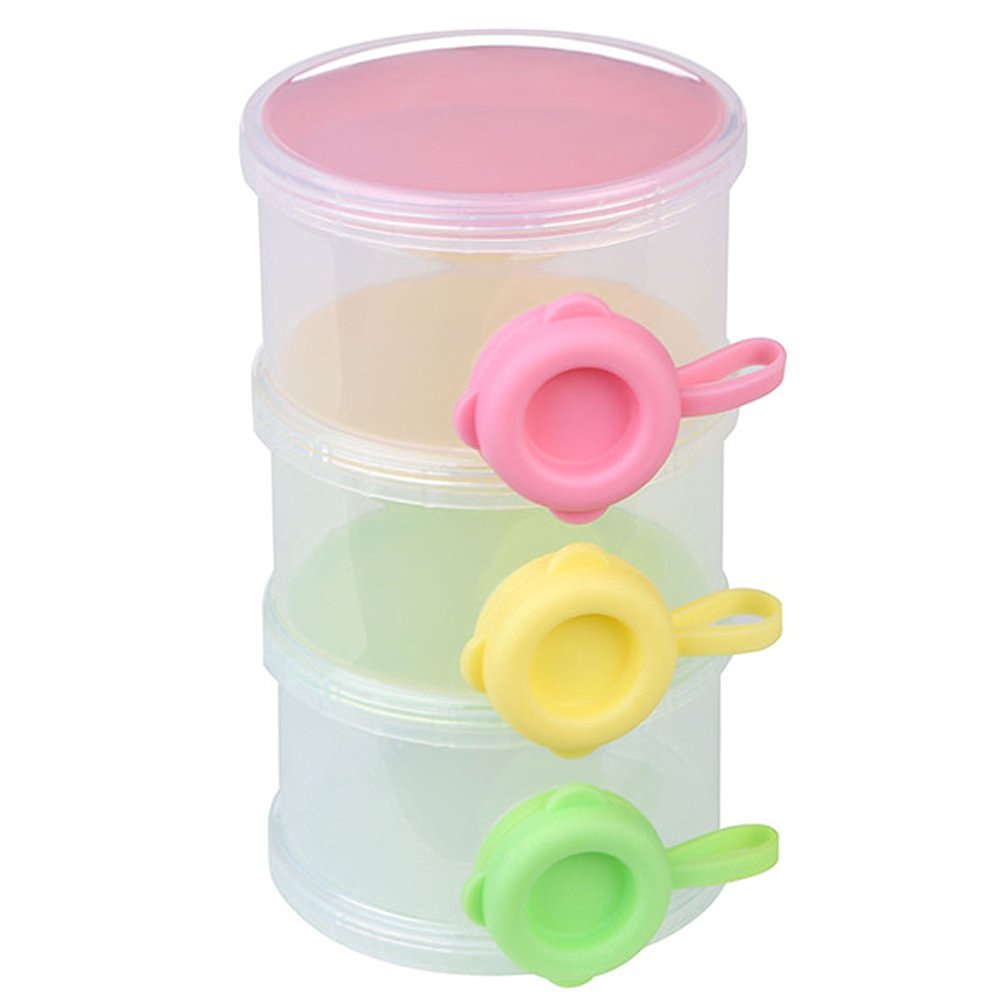 Portable Travel 3 Layer Infant Baby Milk Powder Food Dispenser Container Case Bottle Box
