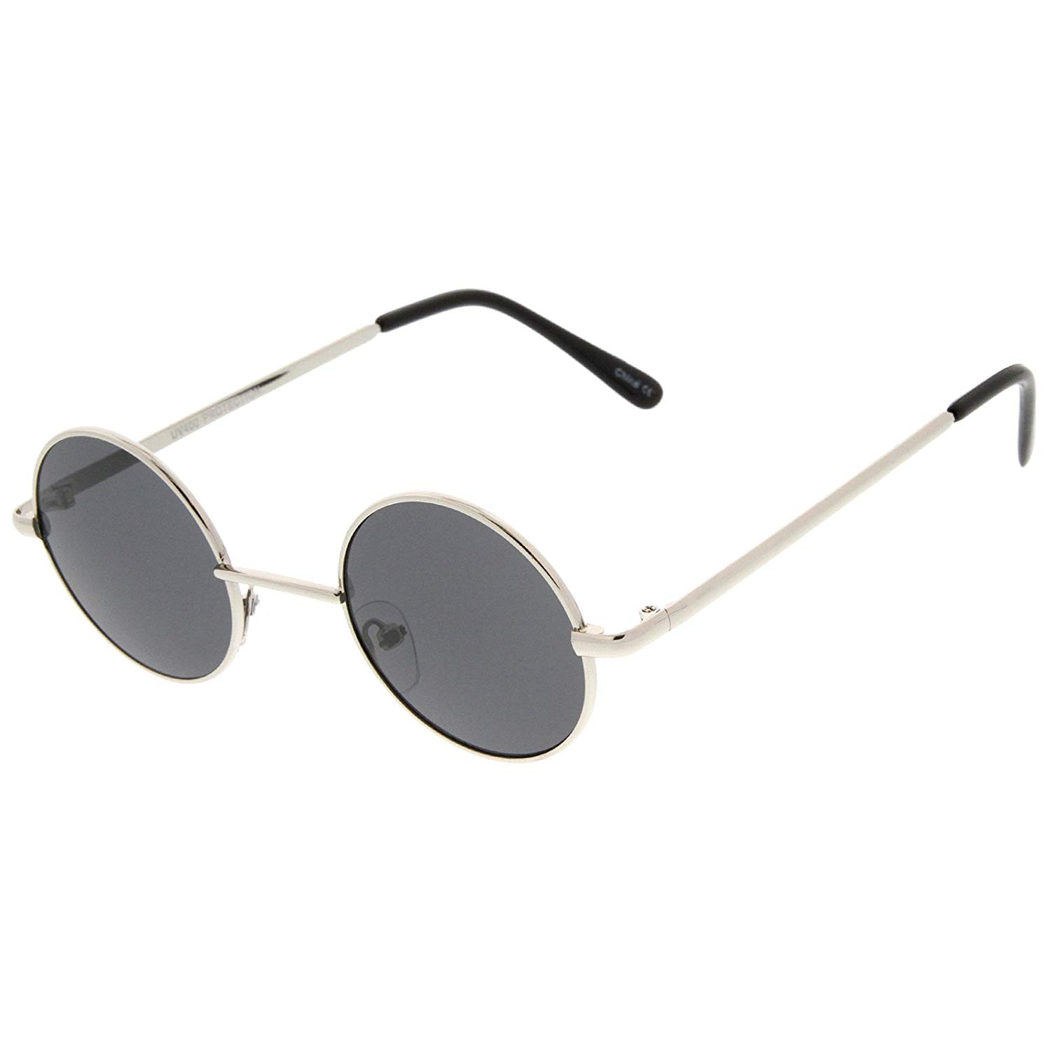 7a064205d80 Get Quotations · Small Retro Lennon Inspired Style Neutral-Colored Lens Round  Metal Sunglasses 41mm