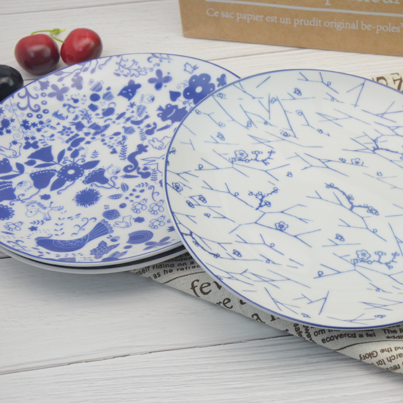 Factory manufacture full printing 8inch ceramic dinner plate for home use