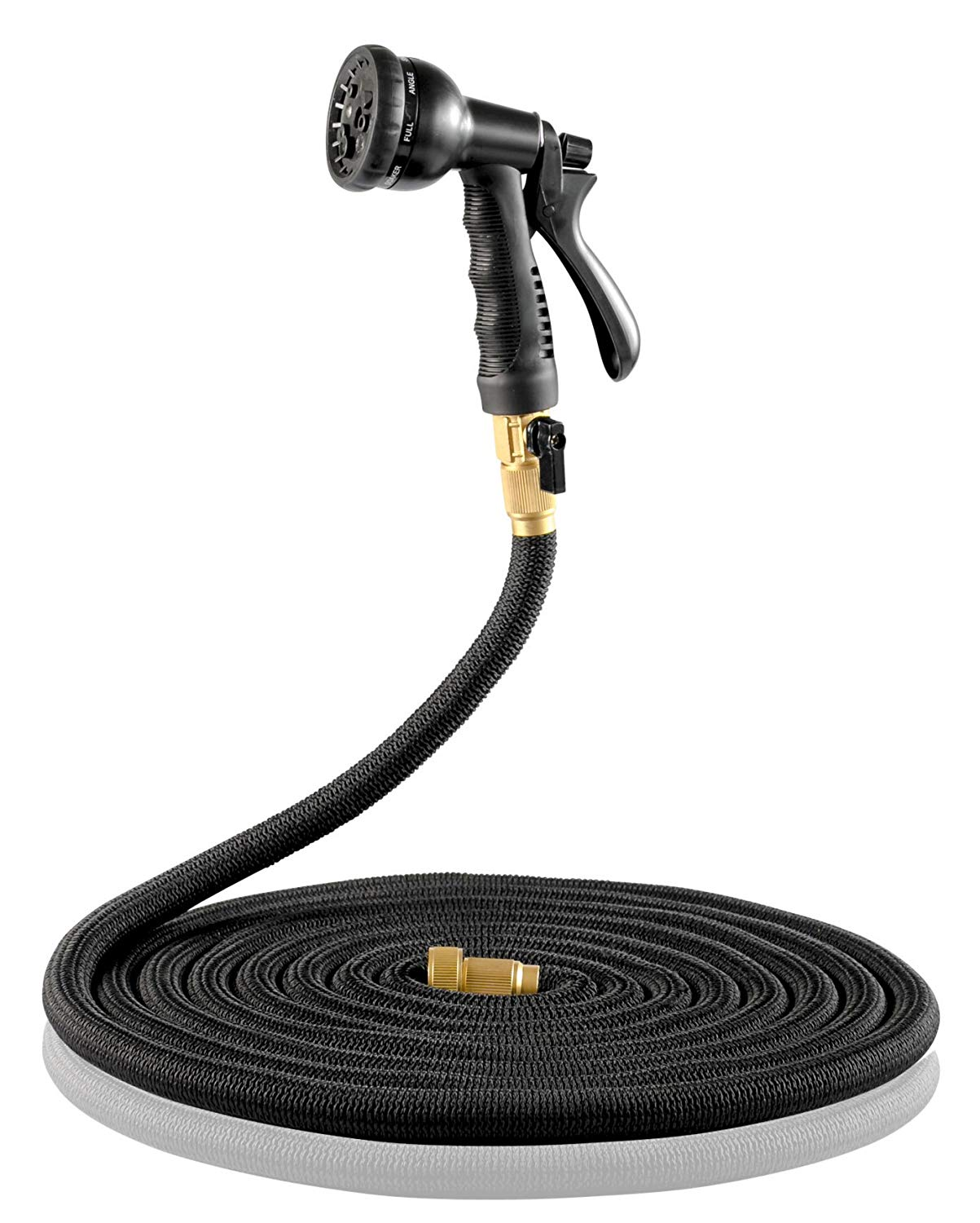 ALL NEW & IMPROVED Expandable Garden Hose w/ Built in Shut Off Valve (50ft) - FREE Nozzle – Brass Fitting - Heavy Duty Retractable Expanding Hoses - Tangle Free Flexible Shrinking/ Collapsible (Black)