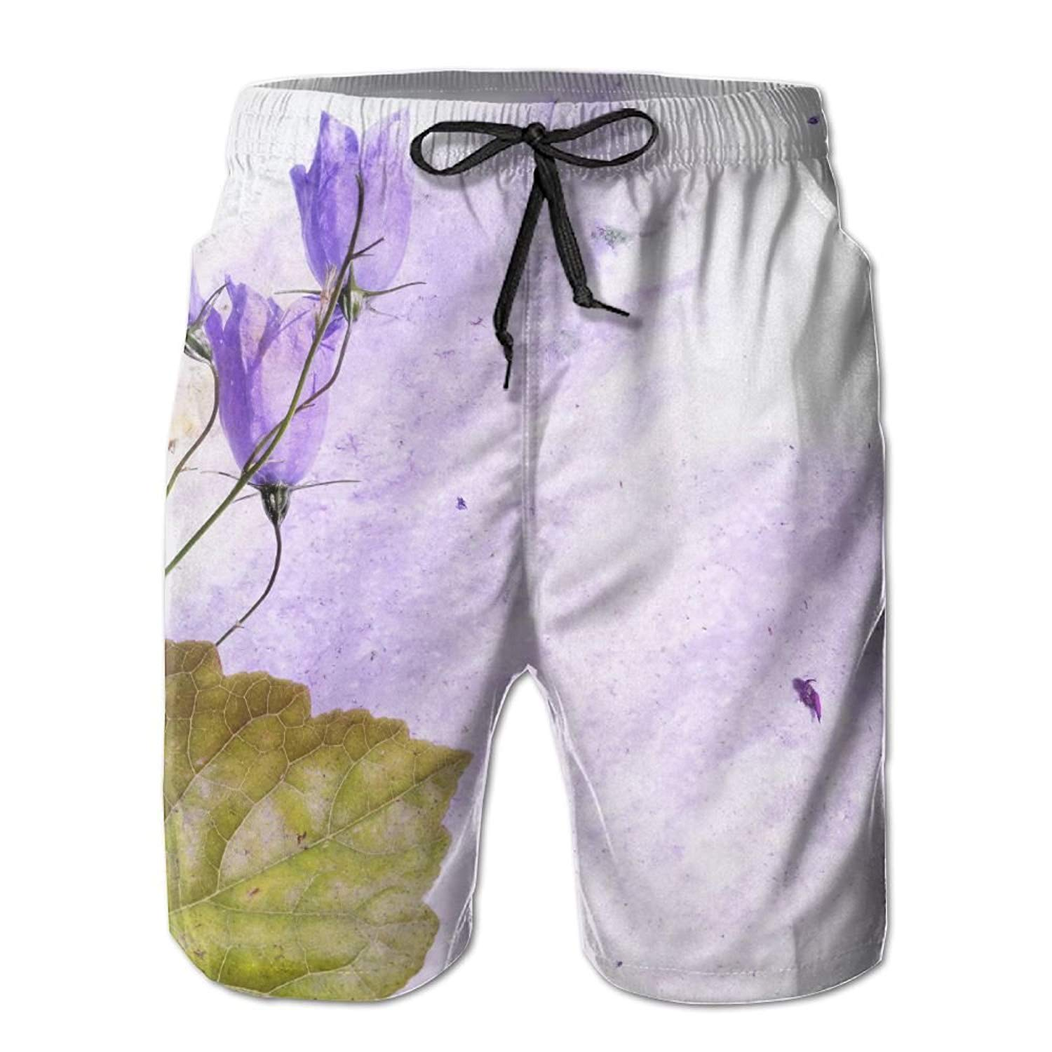 Richard-L Colorful Illustration With Floral Elements Useful Design Element Summer Quick Dry Board/Beach Shorts For Men