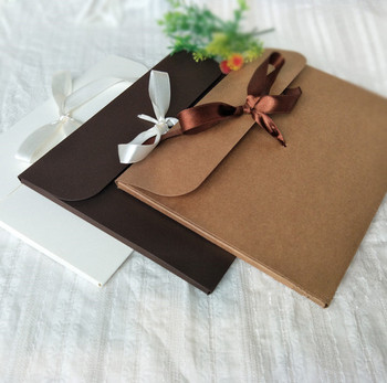 custom thick kraft paper ribbon invitation card diy envelope buy