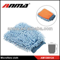 Sky-blue chenille car cleaning gloves/ chenille dusting gloves/chenille polish gloves