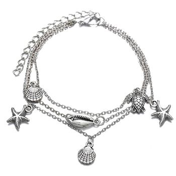 Fashion Creative New Retro Anklets Simple Silver Metal Shell Starfish Turtle Pendant Multi-layer Anklet