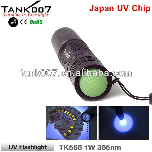 TANK007 2014 China Supplier TK566 365nm /1w high quality aluminium remote control flashlight a422