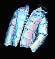 OEM Men's Holographic High end streetwear Rainbow Reflective Jacket