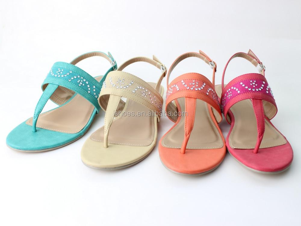 Latest Fashion Rhinestone Fancy Flat Summer Sandals For Women 2015 ...