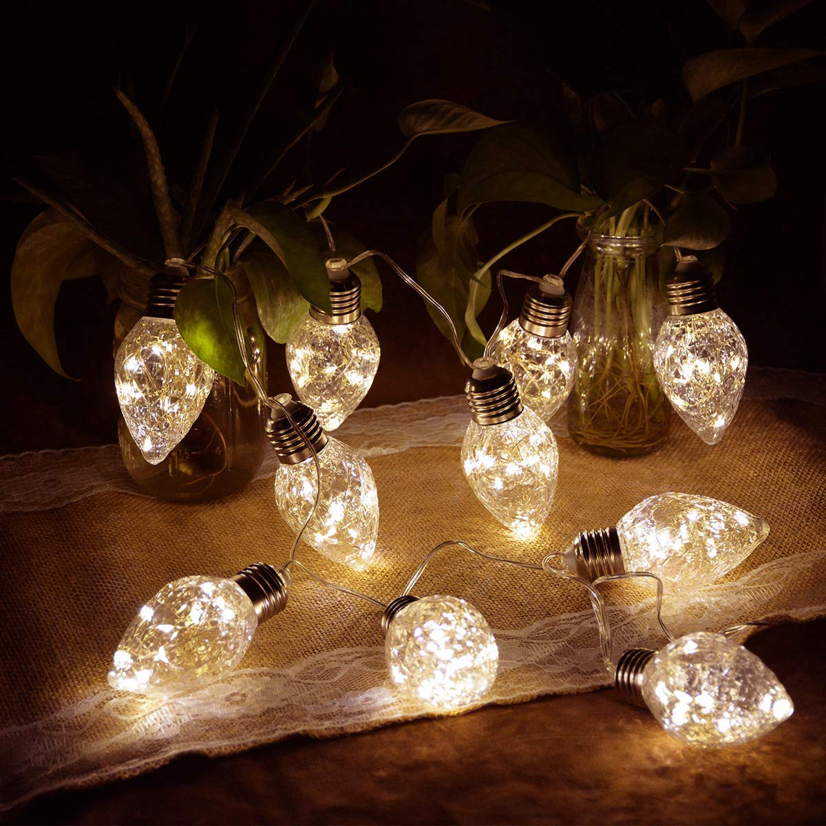 Homeleo Strawberry LED String Lights, Battery Operated Warm White Conical Bulb LED Hanging Light for Christmas Tree Halloween Wedding Party Indoor Outdoor Decoration
