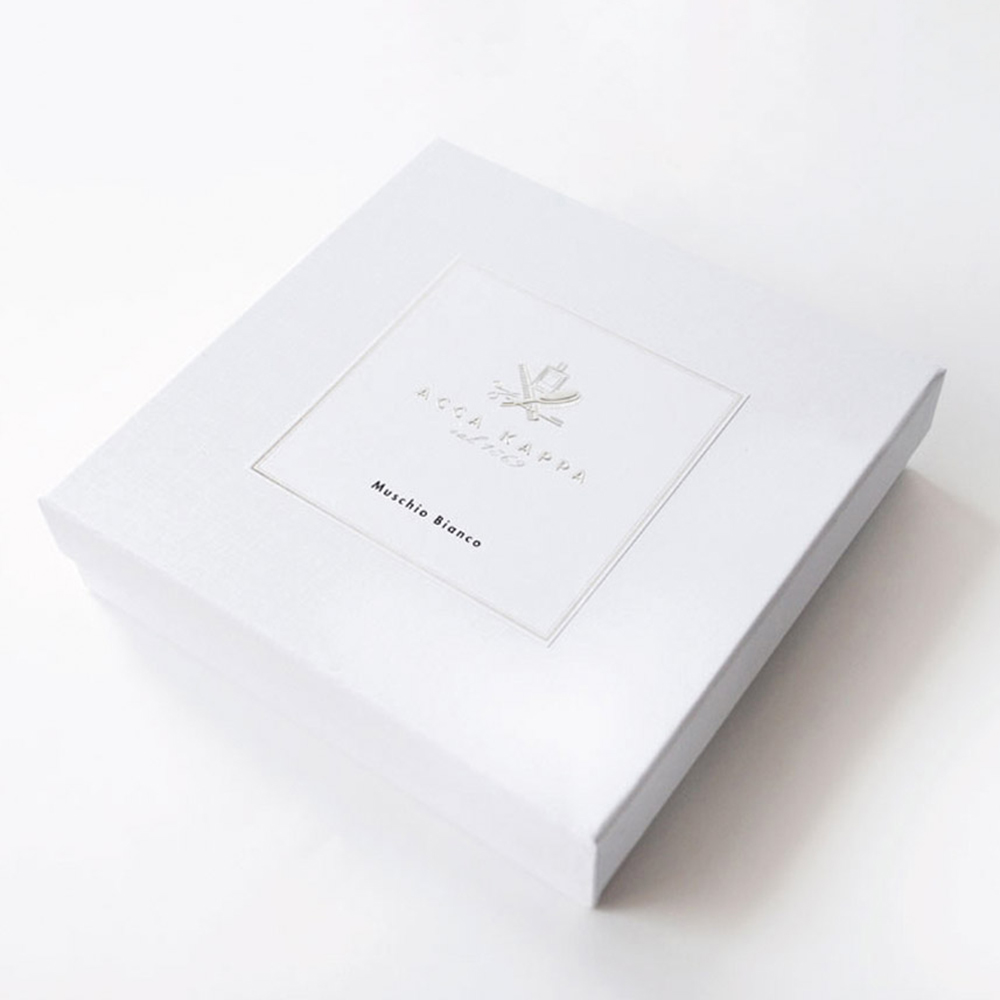 Luxury embossing custom size white card paper box with lid packaging