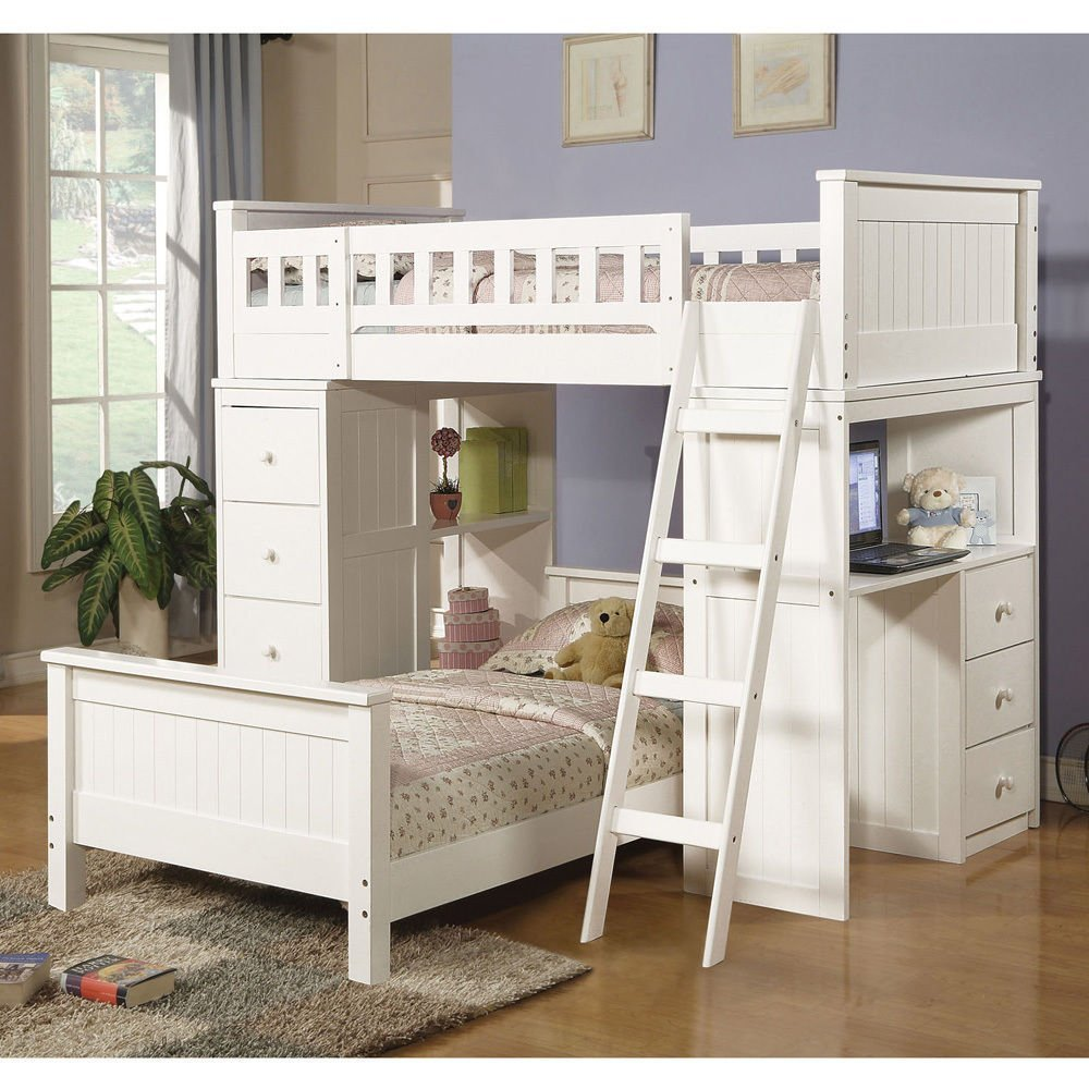 1PerfectChoice Willoughby Youth Kids Twin Loft Bed w/ Twin Bottom Bed Ladder Workstation White