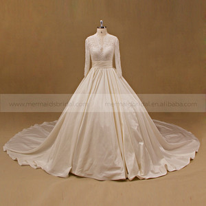 Gorgeous Lace Beads Bodice Key Hole Back Long Sleeve Ball Gown Wedding Dress Long Tail