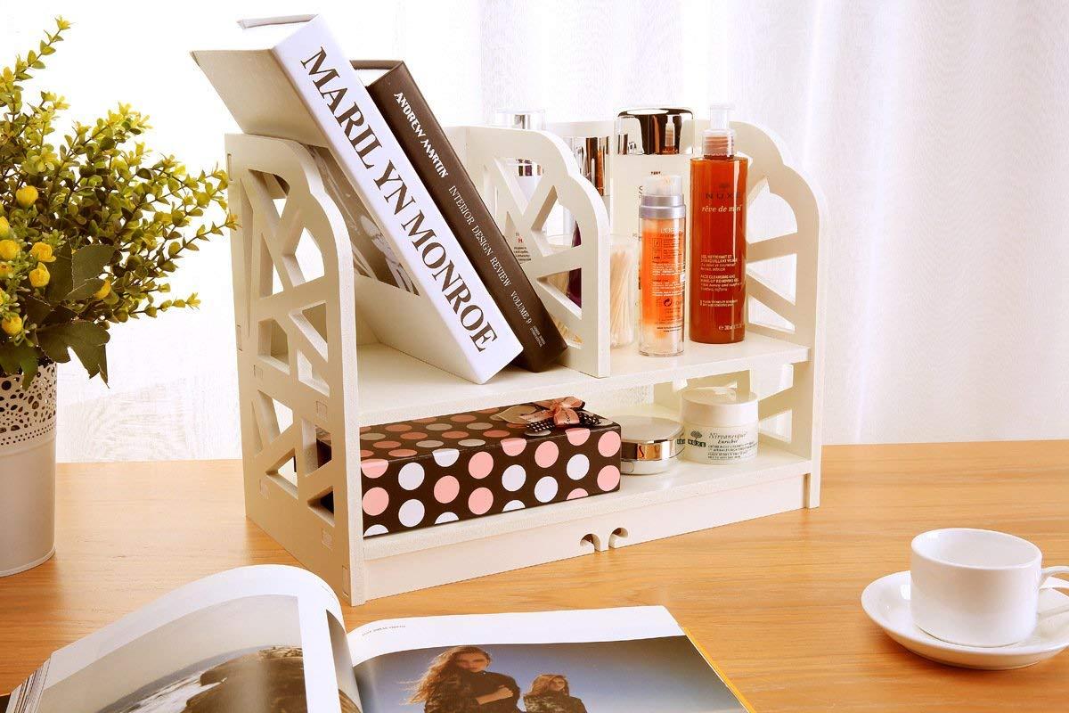 Do4U White Wood Openwork Freestanding Book Shelf/Desk Top Organization Caddy/Stationary Storage (Book Shelf, Cube pattern)