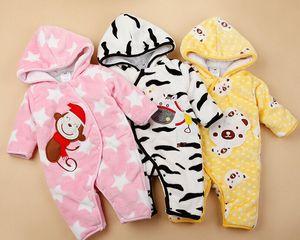 Korea Cute Lovely Rompers for Babys Winter Warm Zipper Up Ourwear Thicken Rompers