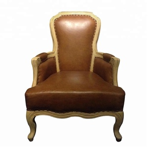 Royal Luxury Leather Seat Tufed Back Armchair