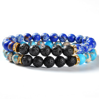 F92 Retail online shopping lava rock stone fashion power jewelry christmas charms bracelet lava stone