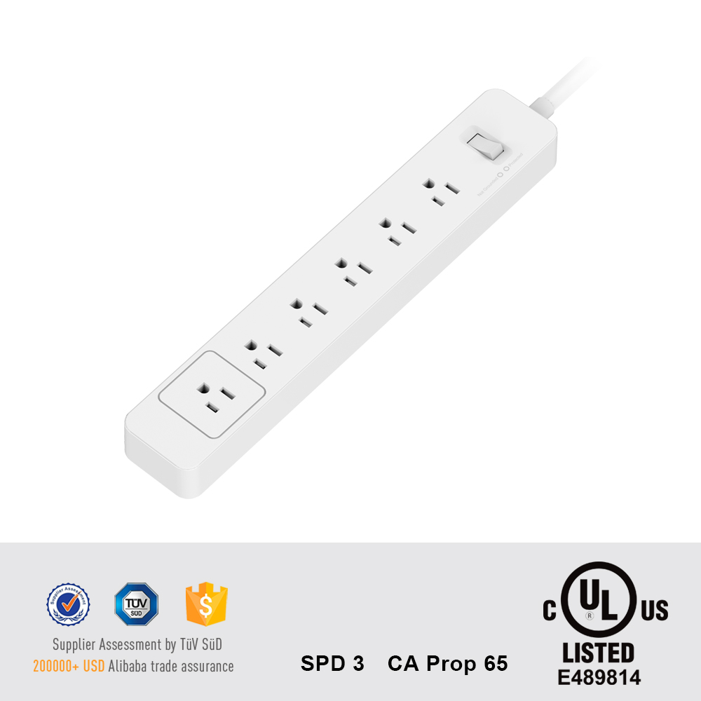 6 AC Outlets US Type Wall Mount long Power Supply with Surge Protector home use power strip