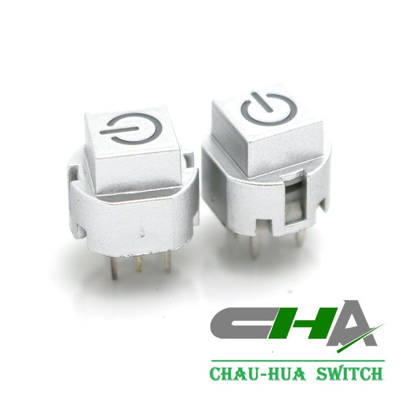 white tact switch with power symbol led illuminated pushbutton switch