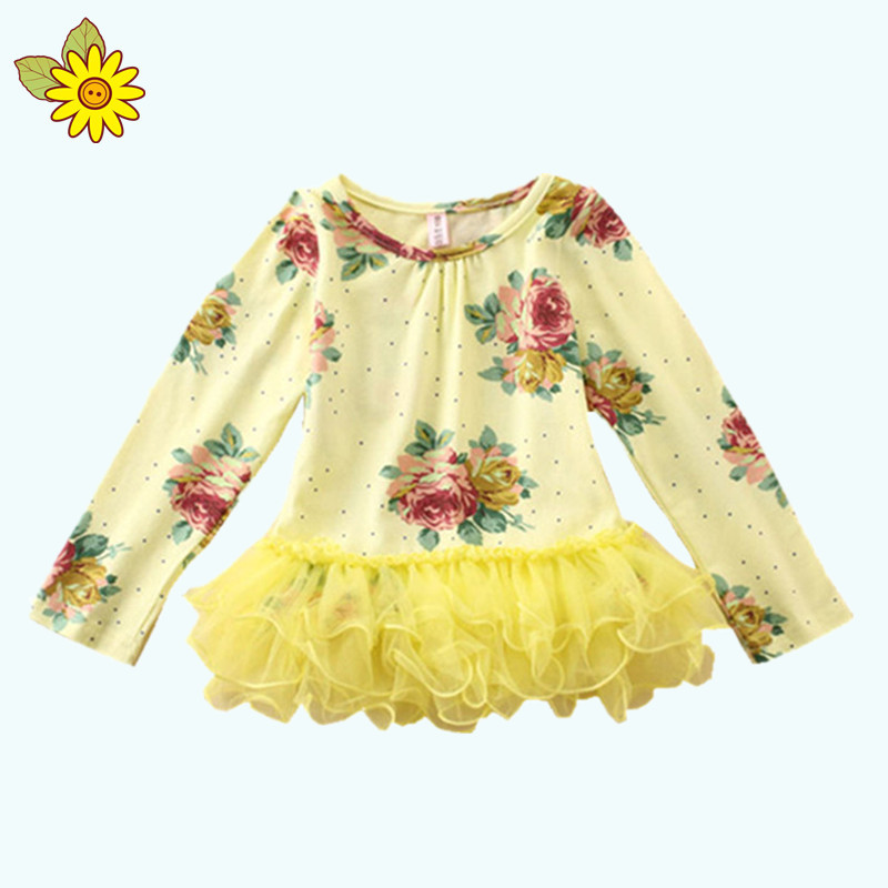 New 2015 Autumn And Spring Baby Girls Long Sleeve T-shirts Cotton Children T-shirts Floral Korean Children Shirts
