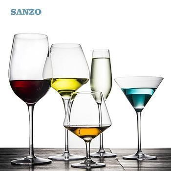 SANZO Black Wine Glass Handmade Logo Thick Stem