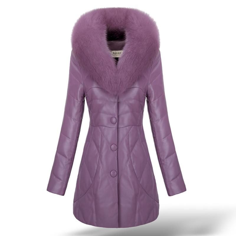 f99521c280b60 Get Quotations · 2015 Newest Genuine Sheepskin Leather Suede Down Parkas  Coats Fox Collar Winter Women Fur Outerwear Coats