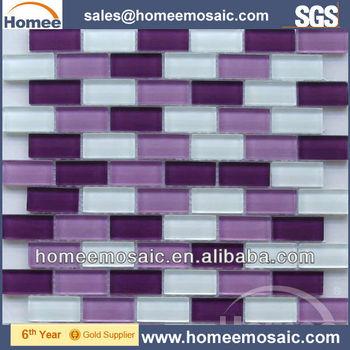 Purple Gl Mosaic Tile Brick Pattern For Wall Decoration