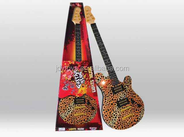 Hot selling plastic leopard pattern play guitar musical instrument toy,plastic play guitar toy,musical toy