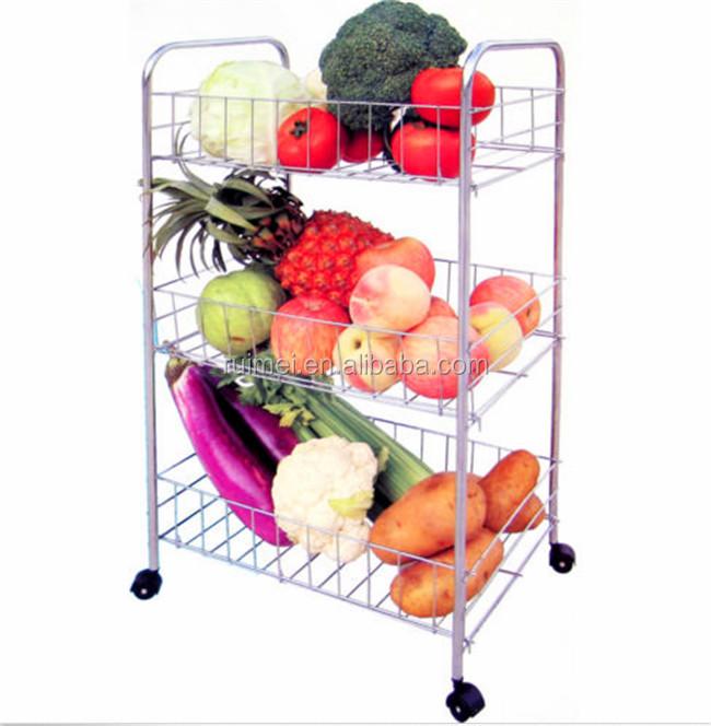 Fruit Groente Rek W Wielen Chroom Keuken Opslag Winkelwagen Trolley Stand Buy Fruit Groente Rek Keuken Serveerwagen Winkelwagen Keuken Opbergrek