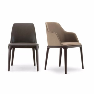 Leather Solid Wood Modern Dining Chair For Restaurant