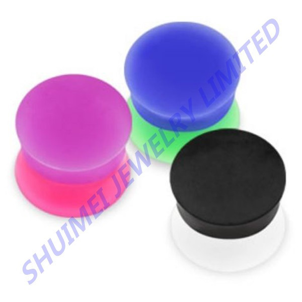 Tone Split Color Silicone Ear Plugs Double Flared Flex Piercings