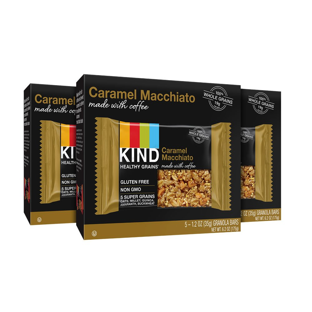 KIND Healthy Grains Granola Bars, Caramel Macchiato, Gluten Free, 1.2oz Bars, 15 Count