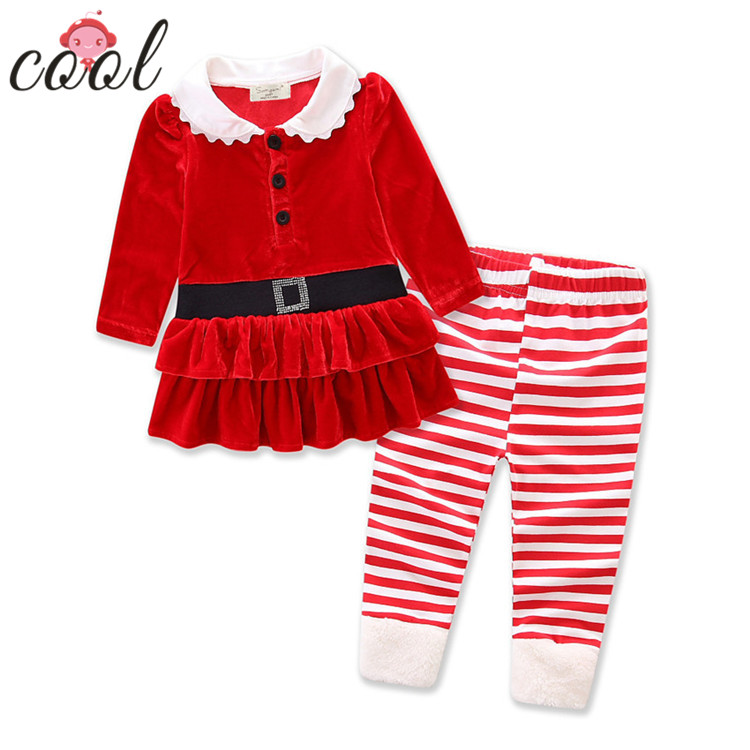Flanelle de noël robe top rayé pantalon 2 pcs enfants fille ensemble de noël