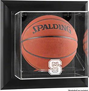 North Carolina State Wolfpack Brown Framed Wall Mountable Basketball Display Cas