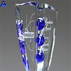 New Promotional Cheap Corporate Gift With Custom Logo Printed Glass Crystal Trophy