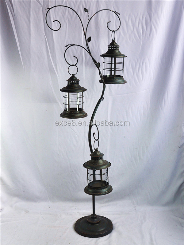 13a539nu Floor Standing Tree Style Metal Candle Lantern