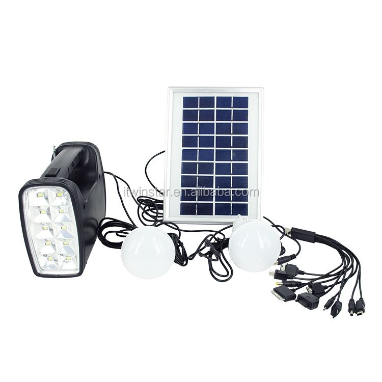 9V/ 3W Home Solar Systems with 1 Portable Light, 2 Plastic LED Bulbs, solar panel, 10 in 1