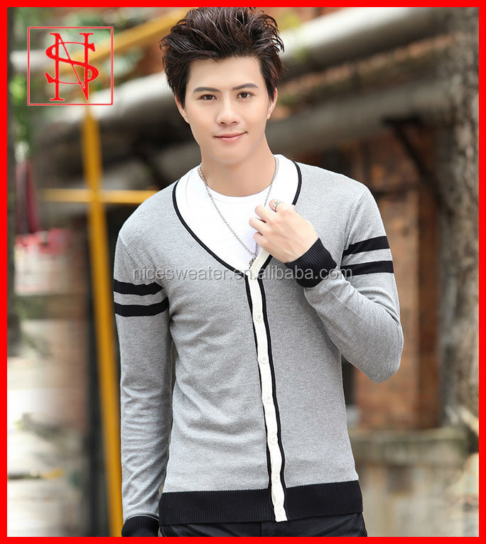 Fashion Mens V Neck Long Sleeve Sweater Arm Striped Cardigans ...