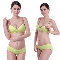 Cotton One-piece Pregnant Bra and Panty Set New Design Deep V Front Button Breast feeding Nursing Bra Set