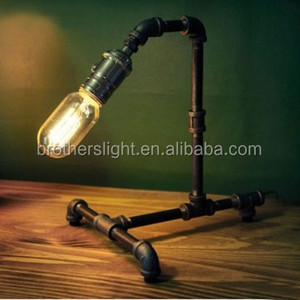2017 Alibaba best seller wrought iron table lamp antique iron pipe table lamp table