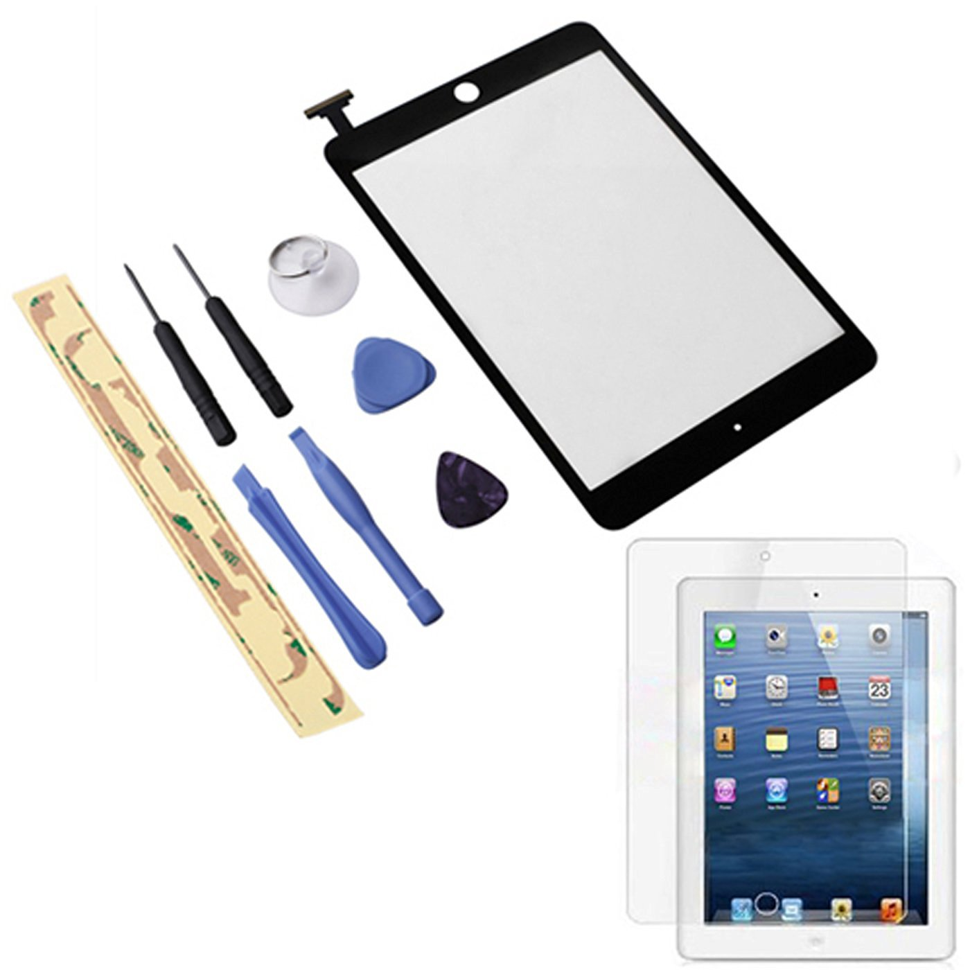 "HDE iPad Mini 7.9"" Digitzer Touch Screen Replacement Parts w/ 7-Piece Tool Kit, Adhesive Tape, & Screen Protector (Black)"