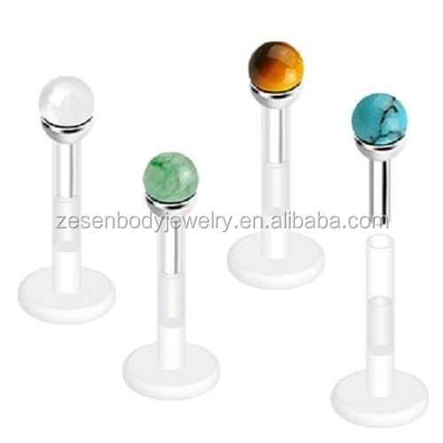 Semi PRECIOUS STONE Top on Flexible Bar LABRET MONROE LIP CHIN Piercing Jewelry