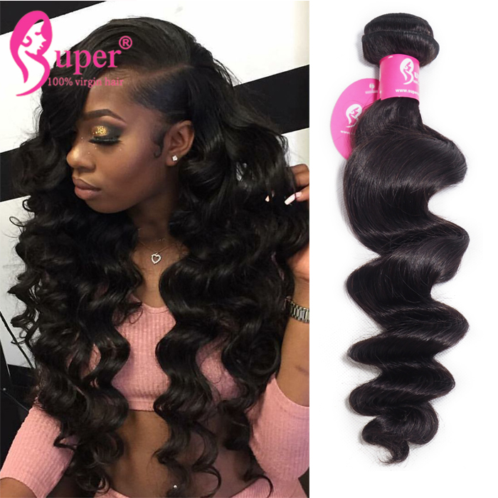 Grade 9a Virgin Loose Wave Human Hair Weave Bundles With Machine Made Lace Closure Extension