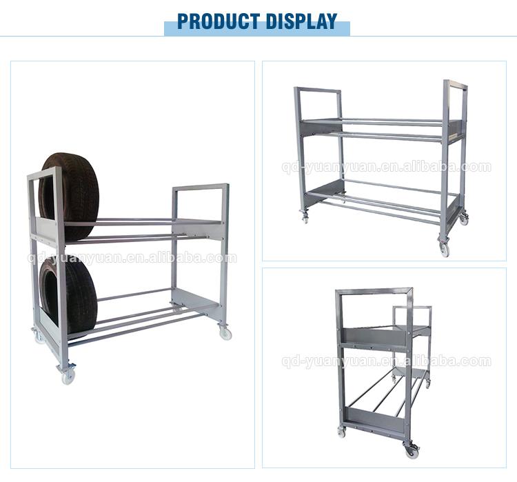 Fabriek Groothandel Metalen Magazijn Auto Truck Tyre Staal Opslag Plank Mobiele Display Tire Rack Pijnigde Pallet Mobiele