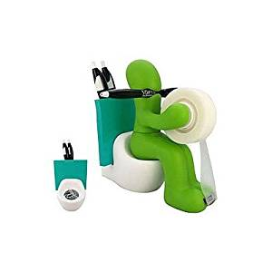 Butt Station Tape Dispenser, Pen & Memo Holder, Paper Clip Storage, Green